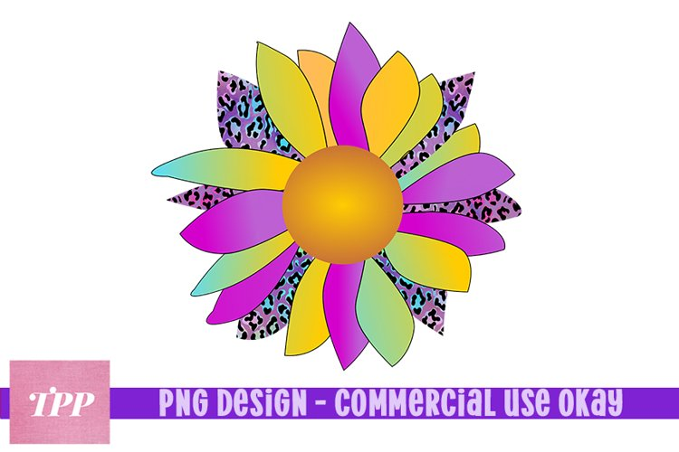 Leopard Print Sunflower png, Sunflower Sublimation Design