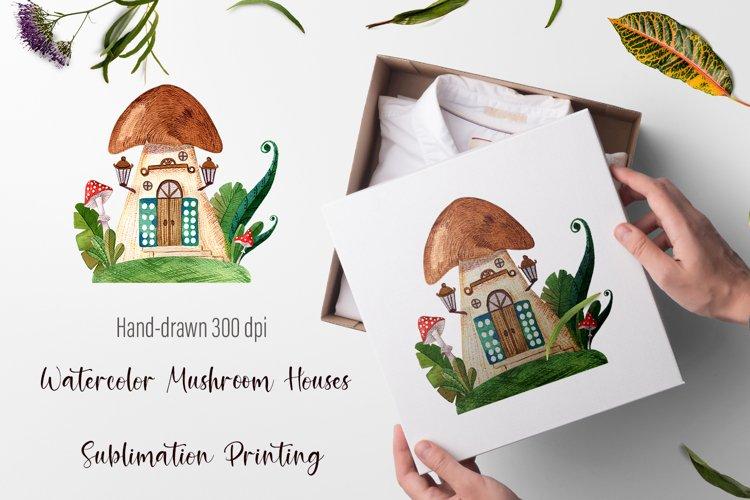 Watercolor Mushroom Houses Sublimation Printing