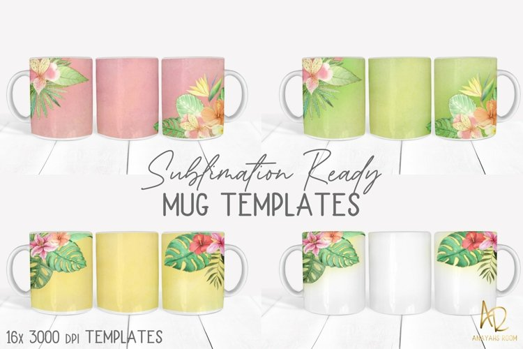 Flower Mug Template Backgrounds   Sublimation Wrap Bundle