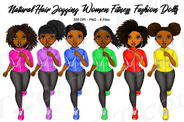 Jogging Women Running Girl Clipart, African Natural Hair PNG