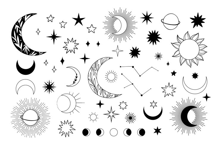 Hand drawn magic vector illustration of planets, moons, star