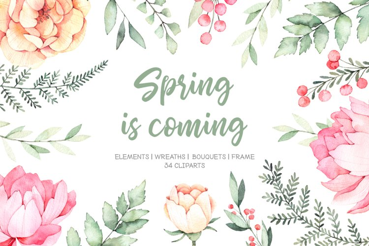 Spring is coming. Watercolor set example image 1