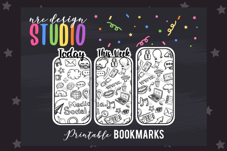 Black and White Doodles Bookmark, Planner Printable