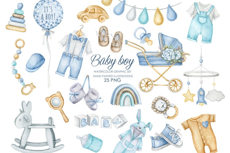 Watercolor boho nursery clipart. Baby boy clipart.