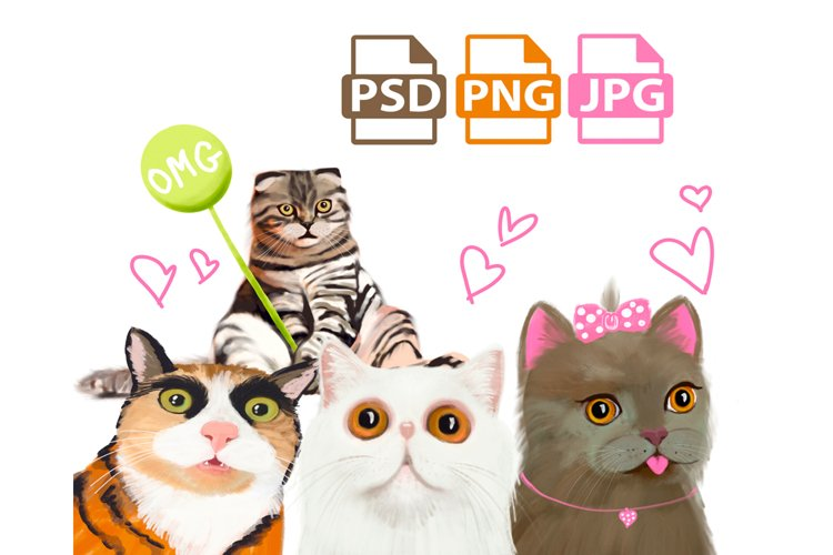 Cat clipart illustration, cat breeds