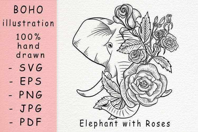 Boho illustration / Elephant with roses