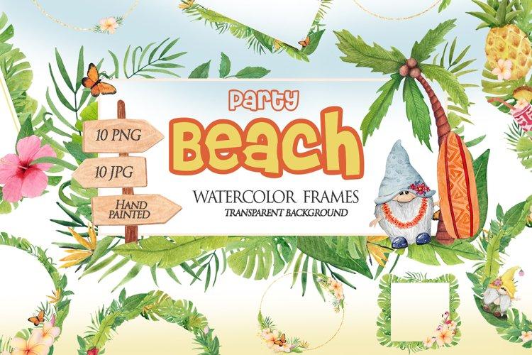 Watercolor summer floral wreath, Tropical Beach frame