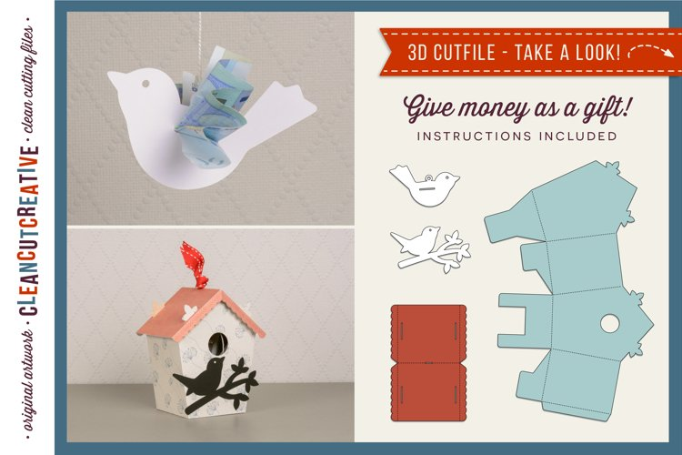 Gift Money Bird & Birdhouse 3D craft | Give Cash SVG file example image 1
