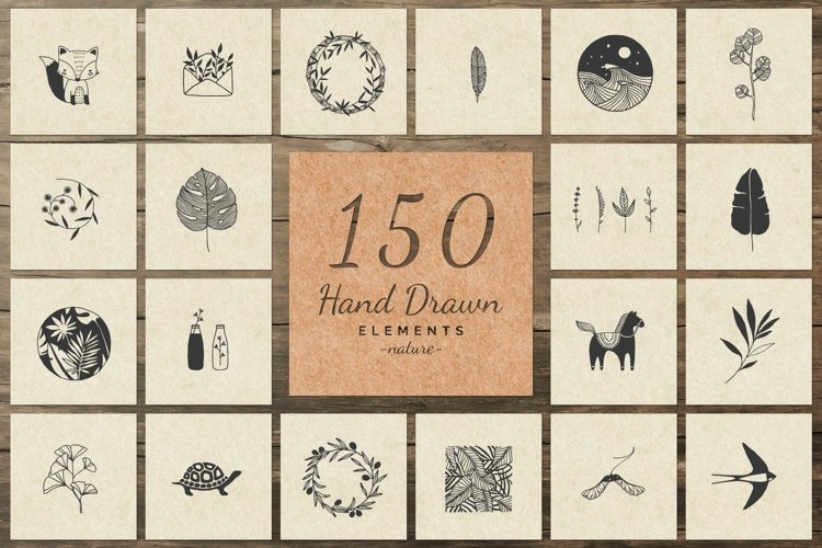 150 Hand Drawn Elements -Nature II- example image 1
