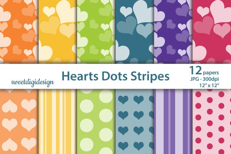 Hearts, polka dots, stripes seamless digital paper example image 1