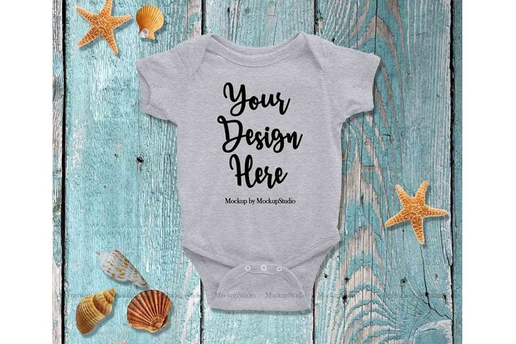 Gray Blank Baby Bodysuit Mockup Newborn Infant Toddler Set example image 1