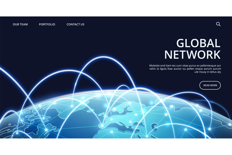 Global network landing page. Internet and global connection example image 1