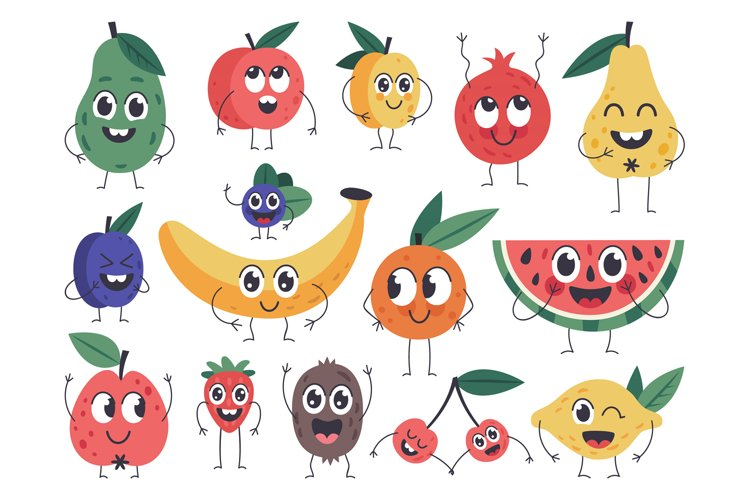 Fruit character. Doodle vegetarian food mascots, happy fruit example image 1