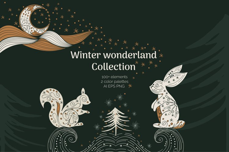 Abstract Linear Christmas Winter wonderland Clipart example image 1