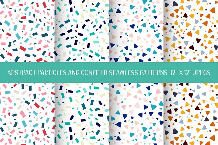 Abstract Particles and Confetti Seamless Patterns