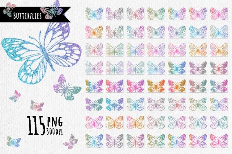 115 Glitter outline butterflies