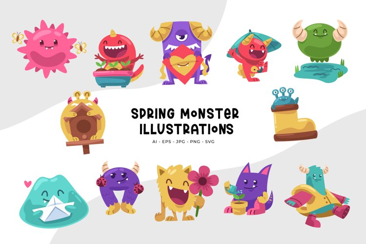 Spring Monster Illustrations example image 1