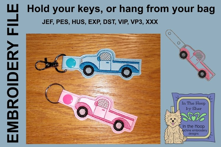 ITH Truck Key Fob - Embroidery Design example image 1