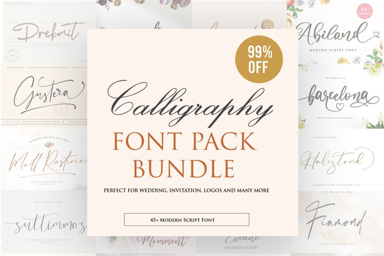 Calligraphy Font Bundle| 45 Fonts Collections example image 1