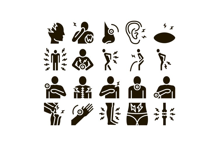 Body Ache Collection Elements Icons Set Vector example image 1