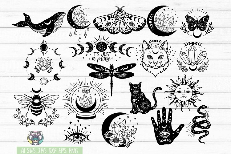 Celestial svg, Mystic, Crystal Moon, Moon Cat, Moon Phase