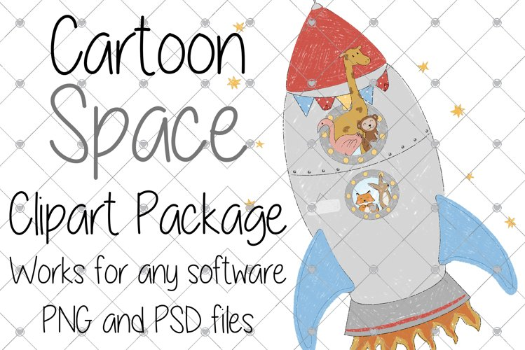 Space, Animal, Cartoon, Nursery, Rocket, Clipart, Boys, example image 1