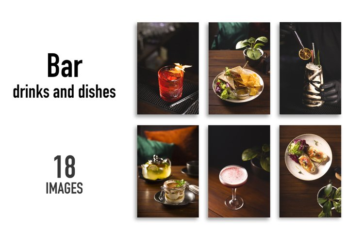 Bar drinks and dishes - 18 images.