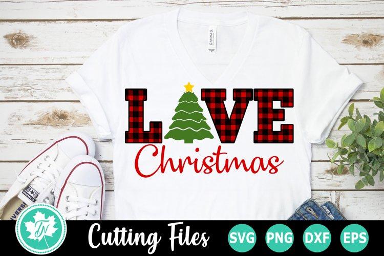 Plaid Love Christmas Tree - A Christmas SVG Cut File example image 1