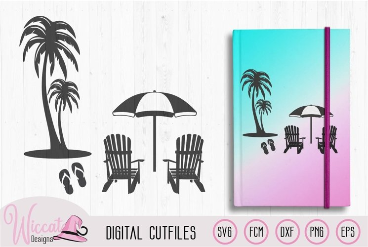 Beach scene with palm trees, flip flops and chairs
