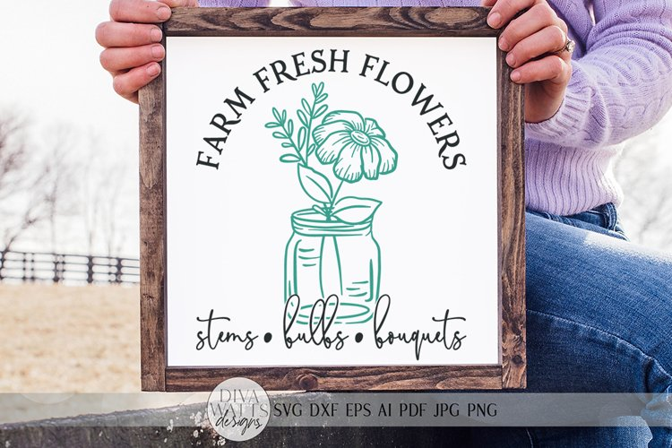 Farm Fresh Flowers SVG | Farmhouse Spring Sign Design