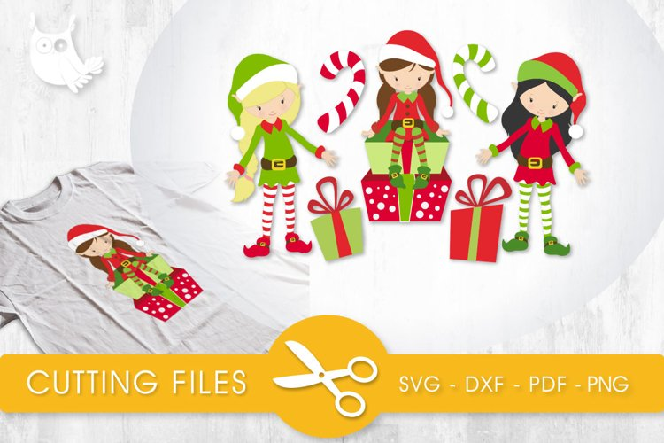Elf Girls cutting files svg, dxf, pdf, eps included - cut files for cricut and silhouette - Cutting Files SVG example image 1