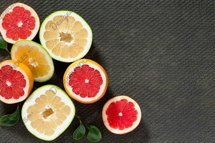 Citrus set of grapefruit and fresh mint on gray background. example image 1
