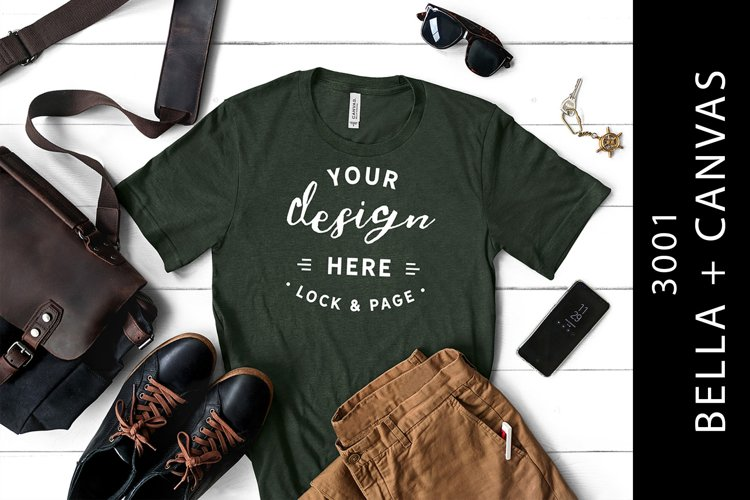 Men's Heather Forest Bella Canvas 3001 Male T-Shirt Mockup example image 1