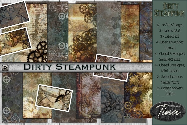 Dirty Steampunk Collection Envelopes Labels Gears Rustic