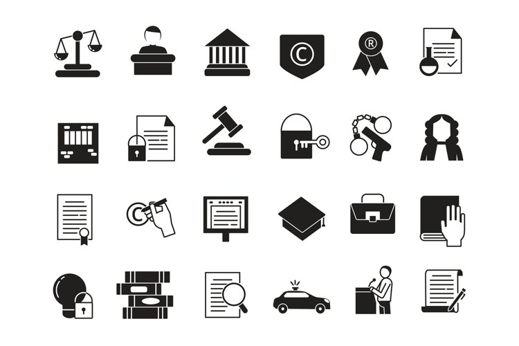 Business icons set in monochrome style. Law and protection. example image 1