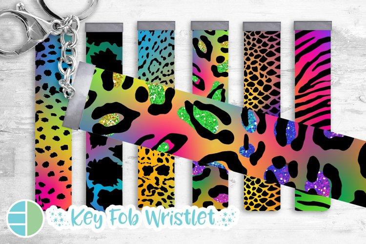 Rainbow Key Fob Wristlet Sublimation Bundle Leopard example image 1