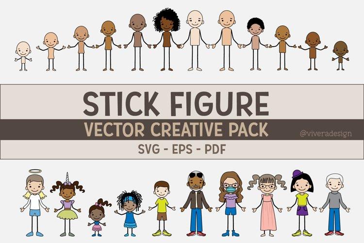 Vector Family Stick Figures EPS | SVG | PDF - Line Art