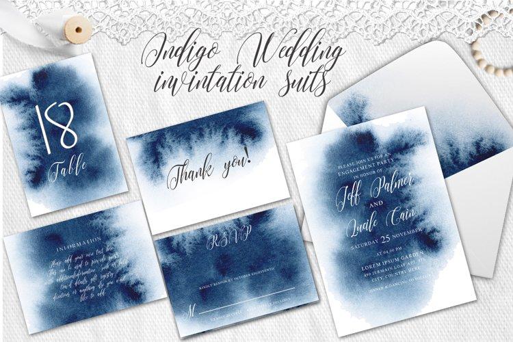Indigo Watercolor Wedding Invitation suite example image 1