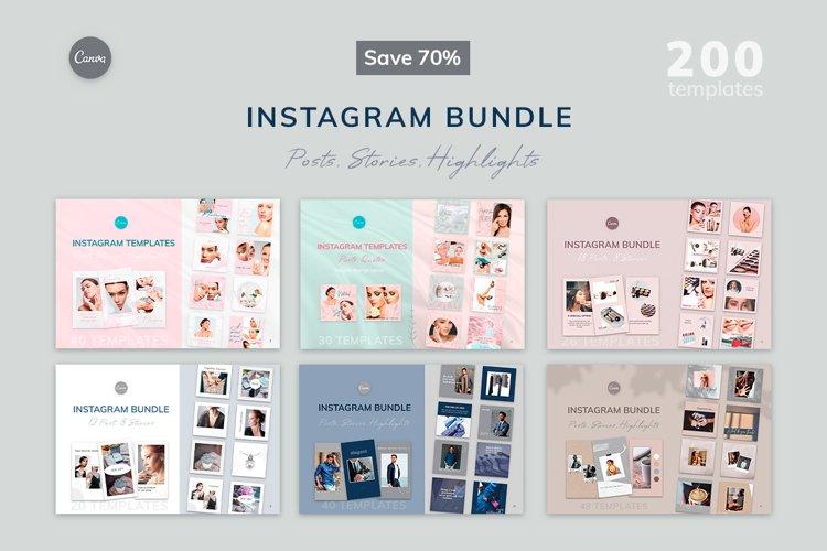 200 Instagram Canva Templates, Instagram Bundle example image 1
