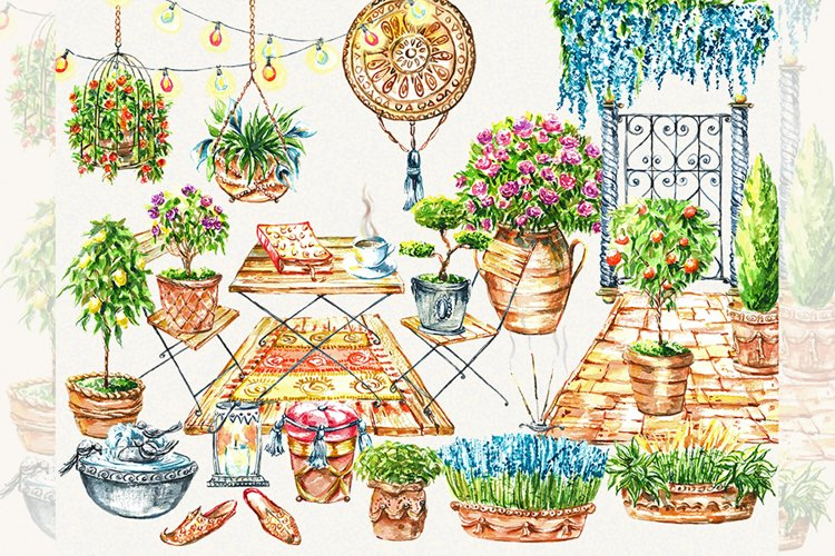 Patio clipart, topiary clipart, garden clipart, ltalian