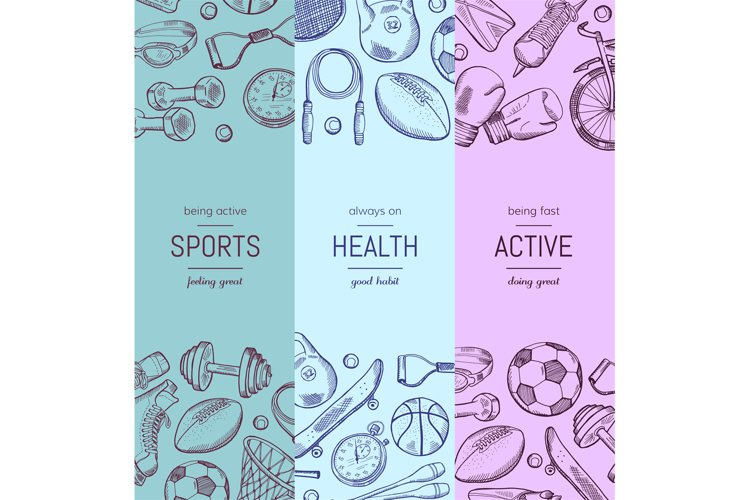Vector hand drawn sports equipment vertical banner templates example image 1