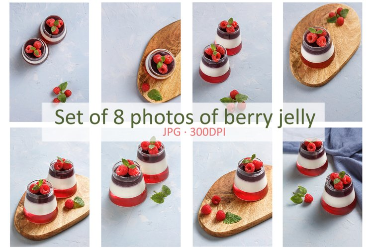 Set of 8 photos of berry jelly topping with raspberries