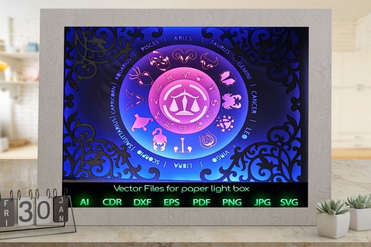 Zodiac sign Libra Light box template , Paper or cardboard example image 1