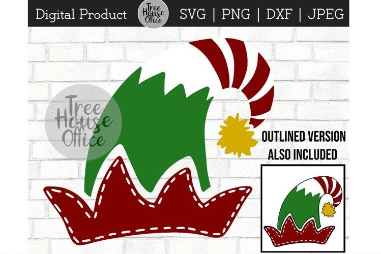 Elf Hat SVG, Hand Drawn Elf Hat Clipart, Santa's Helper JPEG example image 1