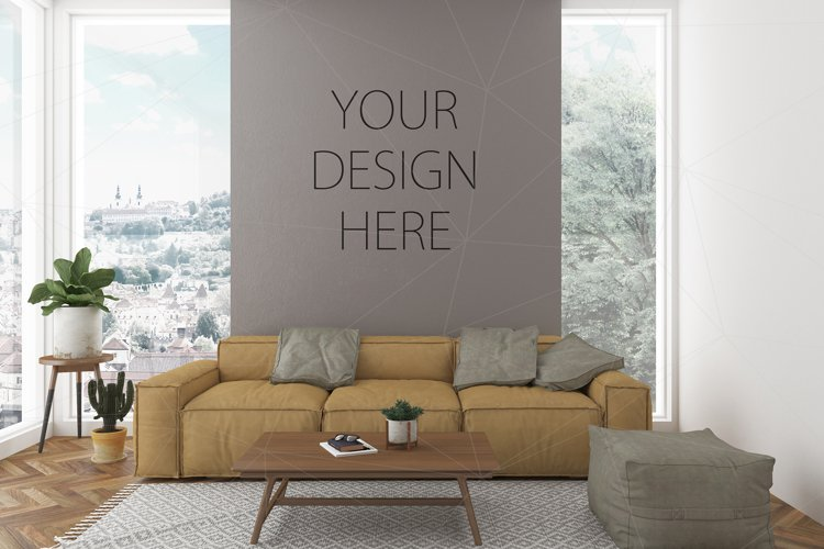 Interior mockup bundle - blank wall mock up example image 1