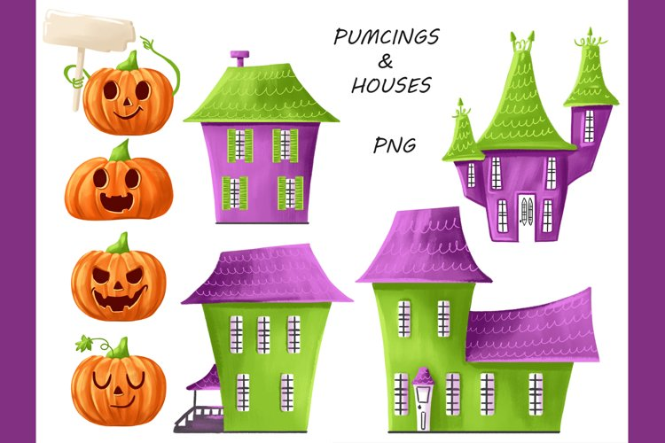 Halloween CLIPART, Fall clipart, Pumpkin clipart, PNG files example 1