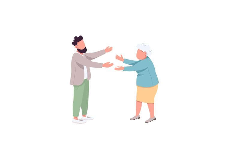 Old mother with adult son color vector faceless character example image 1