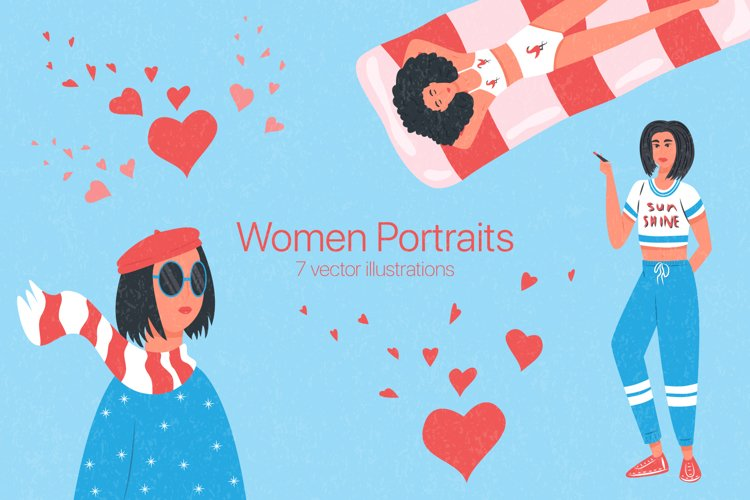 Women portraits vector collection example image 1