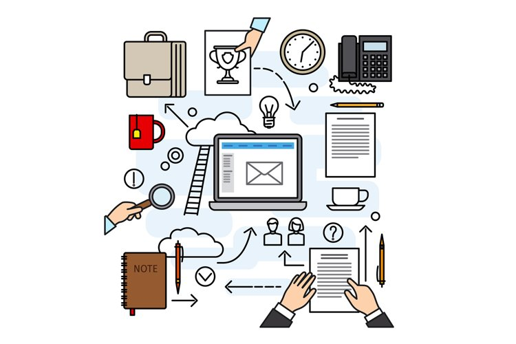 Creative workspace concept with tools and hands example image 1