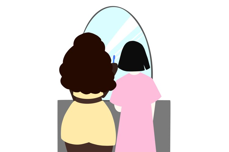 Two girls standing in front of wall mirror brushing teeth example image 1